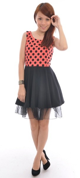 Polka Dot Party Dress in Orange Red - SGD $21.90