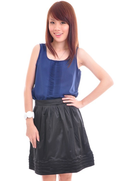 10053 Mini Folds Front Tank Top - Navy - SGD $18.00