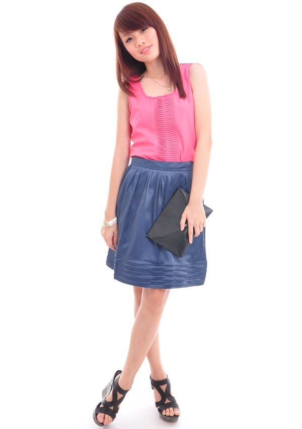 10109 Satin Skirt with Embroidered details - Navy - SGD $19.90