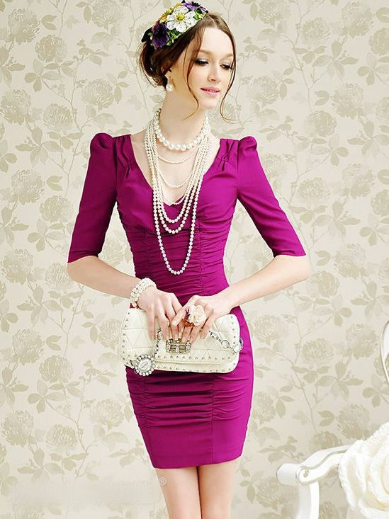 Elegant V-collar Pleated Dress - USD 50