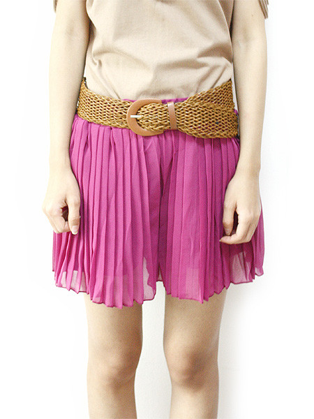 Pink Pleated Shorts - SGD 22