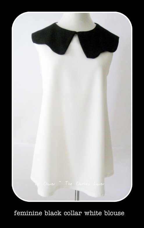 Feminine Black collar White Blouse - SGD 22.90