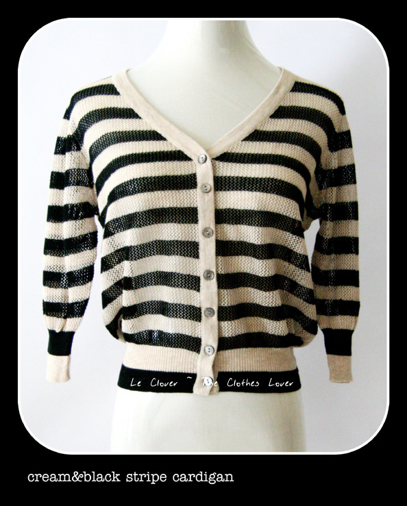 Cream &amp; Black Stripe Cardigan - SGD 22.90