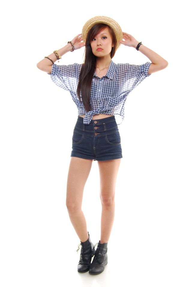 Blue Checkered Chiffon Blouse - SGD 26.90