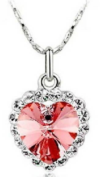 Diamond Heart Necklace-Pink - SGD 15