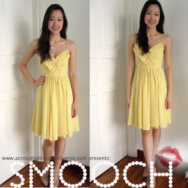 SMOOCH spaghetti chiffon dress in lovely yellow.  - SGD 20