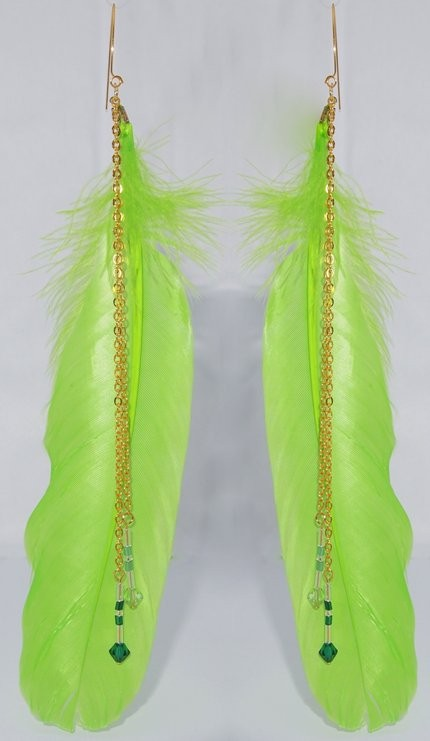 Gorgeous Apple Green Feathers with Swarovski Crystal Long Drops  - USD USD10.00