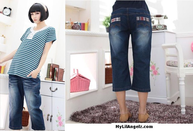 Maternity Korean Style Middle Length Support Washed Jeans  - MYR 72