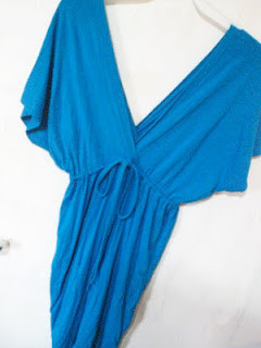 blue v neck dress - SGD $25