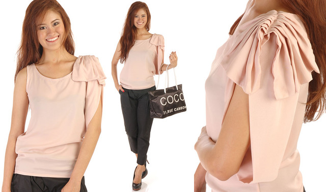 Bow-detail Asymmetrical Top  - SGD 32.50