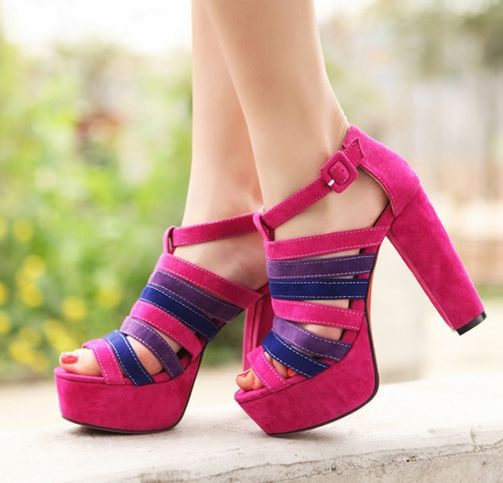 Summer Ladies Fashion Peep-toe Cross Belts Chunky Heels Pumps - MYR MYR89.90