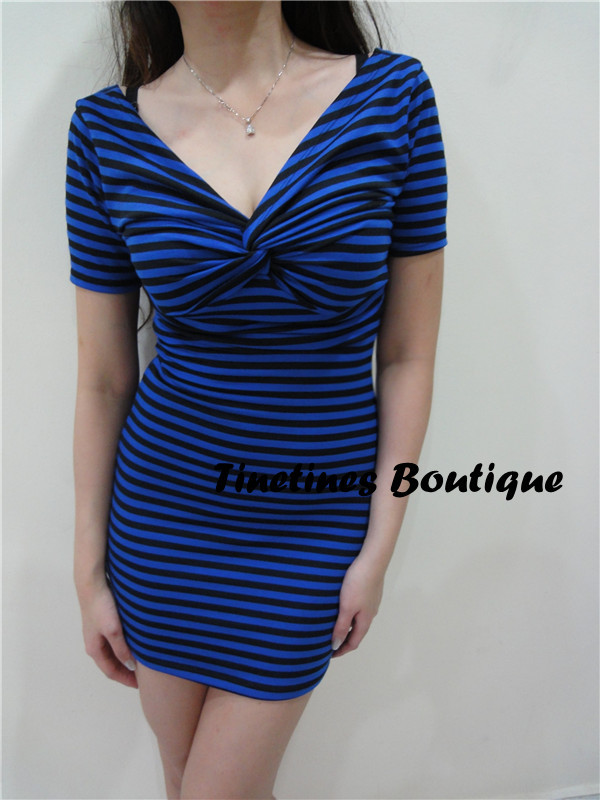 Item Number : CD15 Blue Strips Dress - MYR Sale : RM45 1 pcs / RM120 for 3 pcs