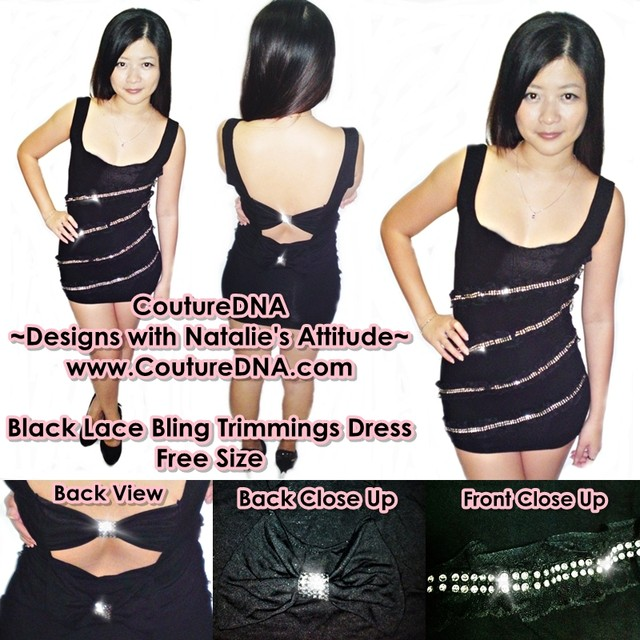 Sexy black dress bling trimmings and sexy ribbon - SGD 22
