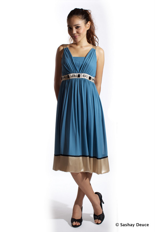 DIANA Beaded Belt Silk Dress (Steel Blue &amp;amp; Champagne) - SGD 158