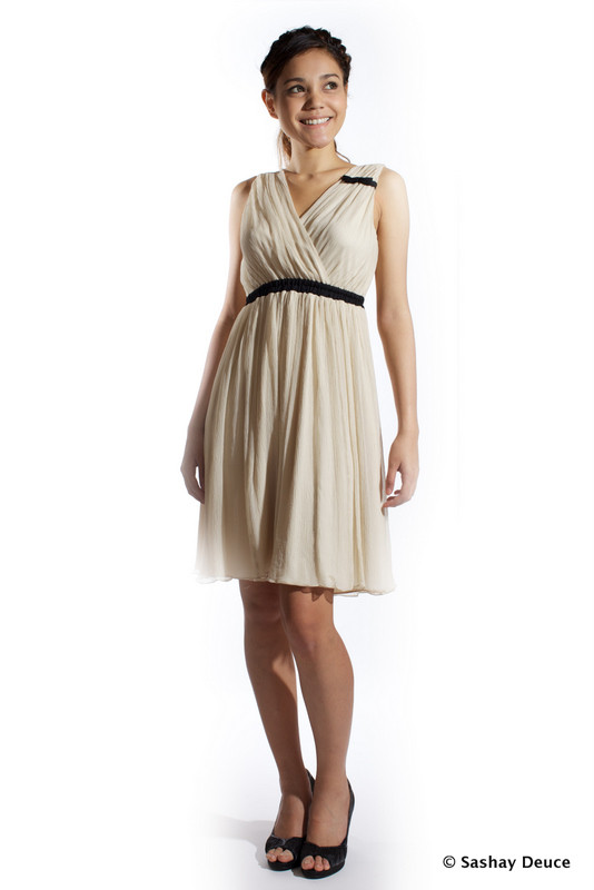 JEWEL Chiffon Grecian Dress (in Nude) - SGD 158