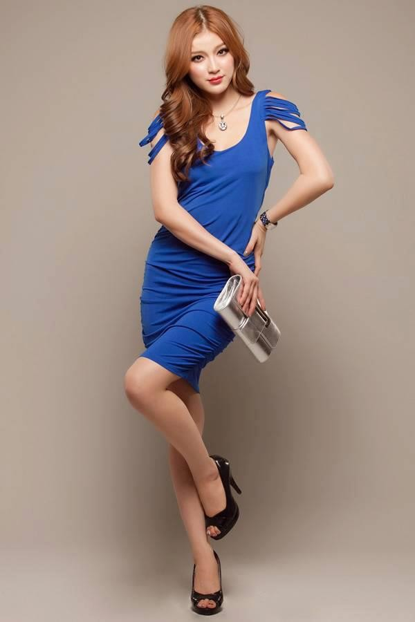 blue sexy layer shoulder dress - MYR RM26