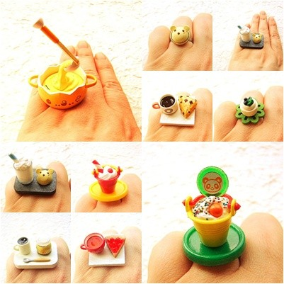 Kawaii Cute Miniature Food Rings Kawaii Floating Food