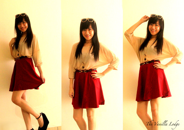 WHIRLY TWIRLY SKIRT IN WINE RED - SGD 25
