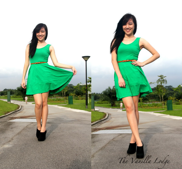 BASIC SKATER DRESS IN GREEN - SGD 24