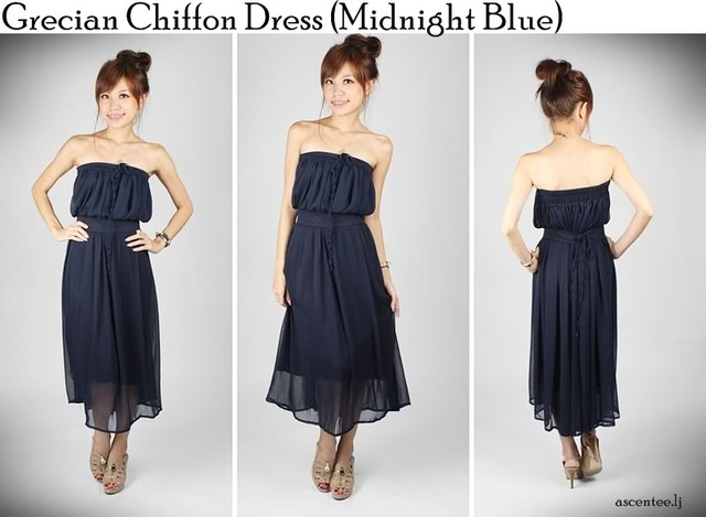 Grecian Chiffon Maxi In Navy - SGD 27