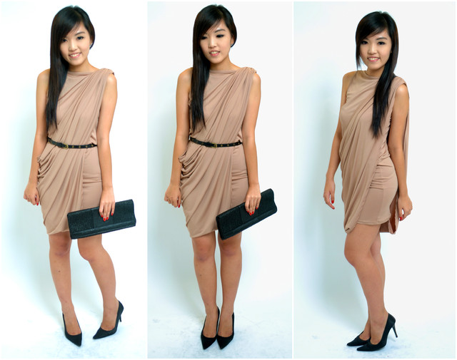 Audrina Drape Dress in Nude - SGD 