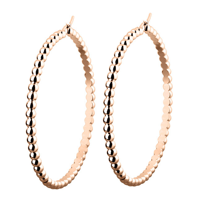 Perle Hoop Earrings in Pink Gold