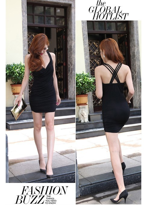 Low Cut Cross Back Dress (Black) - SGD 22