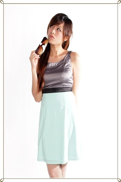 Fiana Dress in Grey and Mint Green  - SGD $26