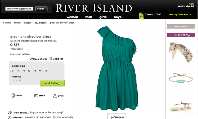 RIVER ISLAND Green One Shoulder Dress (UK 8) - SGD 40