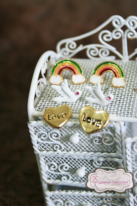 Rainbow Series Painted Stud Earring Set (3 Pairs/Set) - MYR 18