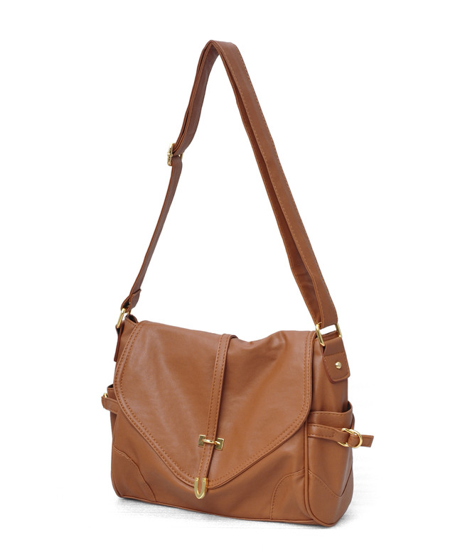 sarah oak brown messenger sling bag - SGD 27