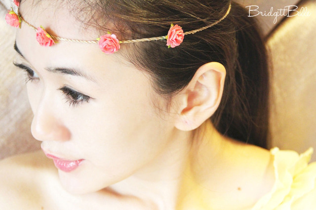 Flower Garland Headband in Coral - SGD 2.90