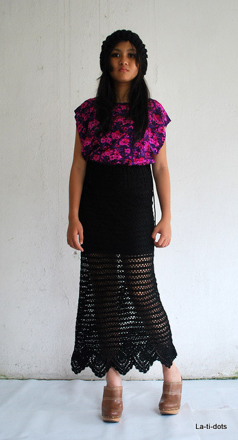 vintage crochet skirt and top - MYR 25