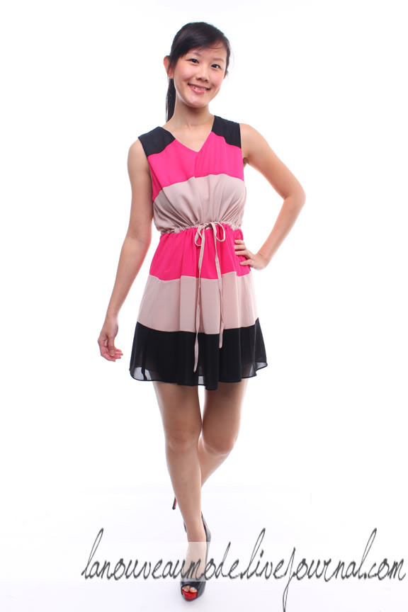Triple Color-Block Dress - Black/Nude/Fuschia - SGD SGD5.00