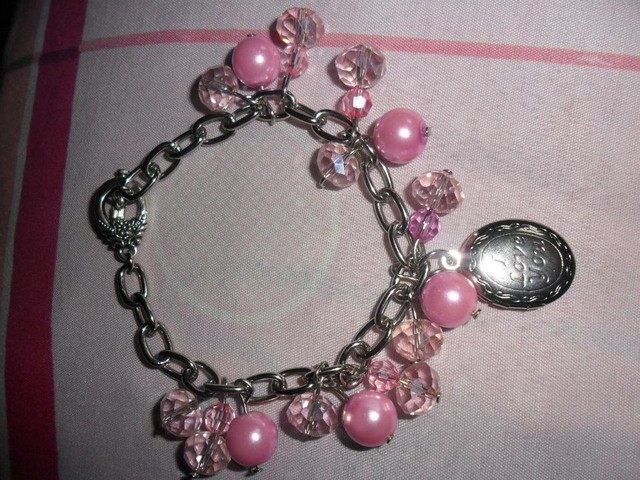 lucky charm bracelet with locket 2 colors blue and pink - PHP 200