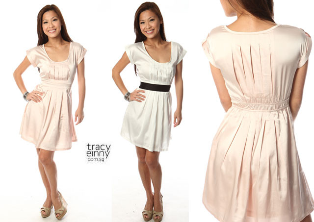 Tracyeinny Pennale Shift Pleated Dress in Pink - SGD 26