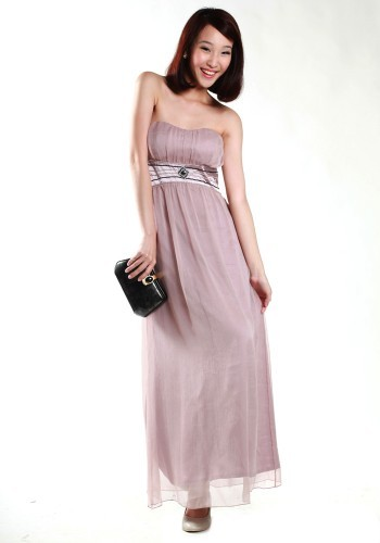 Lovebonito Chaste Grecian Maxi in Dusty Pink - SGD 36