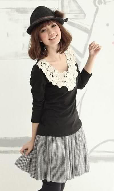 Crochet Neckline Top - SGD 10