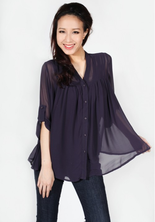Love Bonito Billowy Chiffon Blouse in Plum - SGD 23