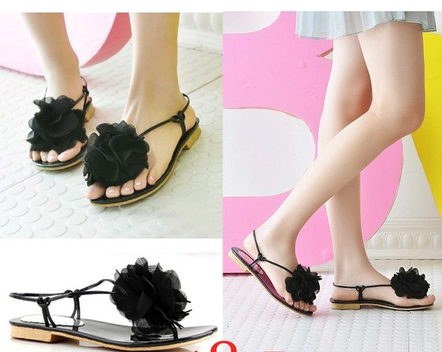 Chiffon Flower Flat Sandals - MYR 40.00
