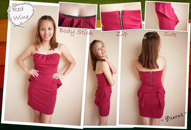 FISH-FINS TUBE DRESS (D0036-RED WINE) - MYR 60