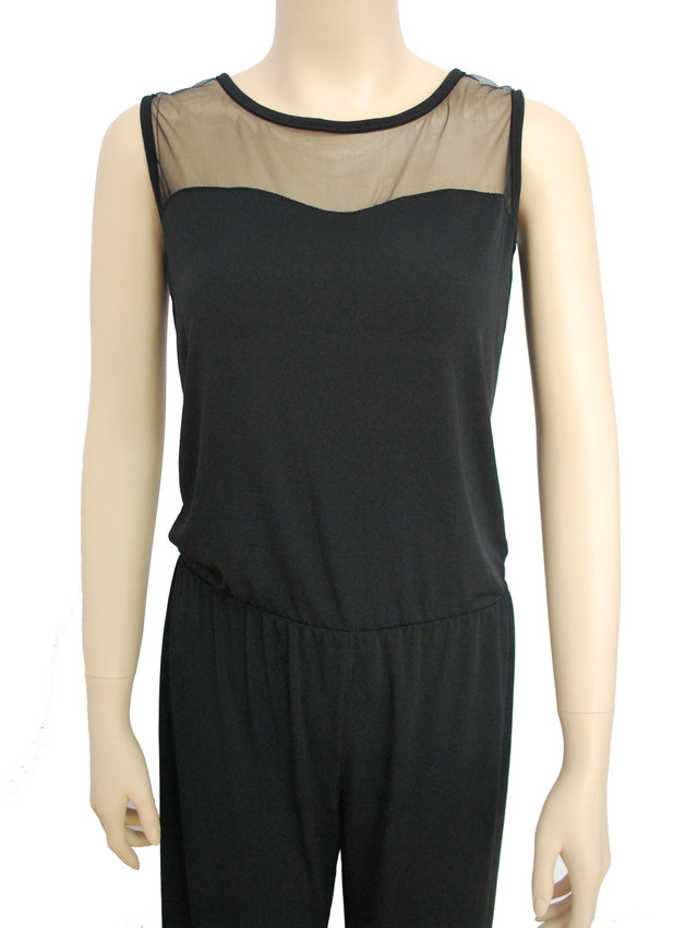 Palazzo Jumpsuit with Mesh - SGD 24