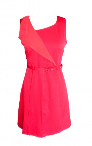 Magenta Shoulder-Draped Dress - SGD 32