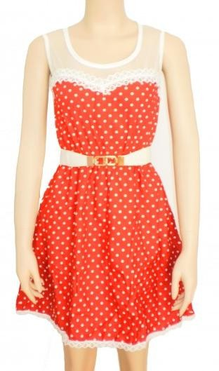 Vintage Sweetheart Polka Dotted Dress  - SGD 22