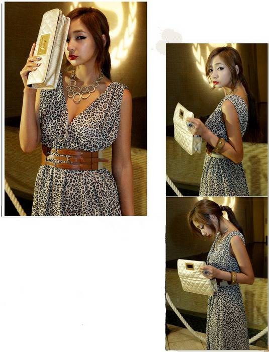 Leopard Print Deep V Dress As Picture - MYR RM 45 excl. postage