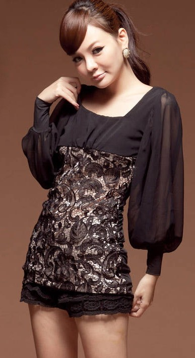  Elegant Long Sleeves Top Black - MYR RM 40 excl. postage