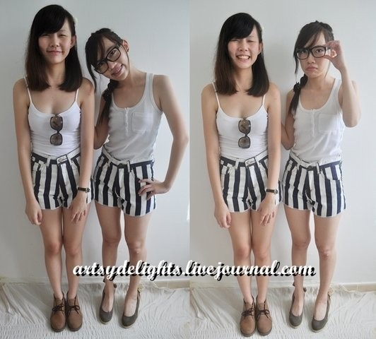 Cute strips high waist shorts - SGD $26.00