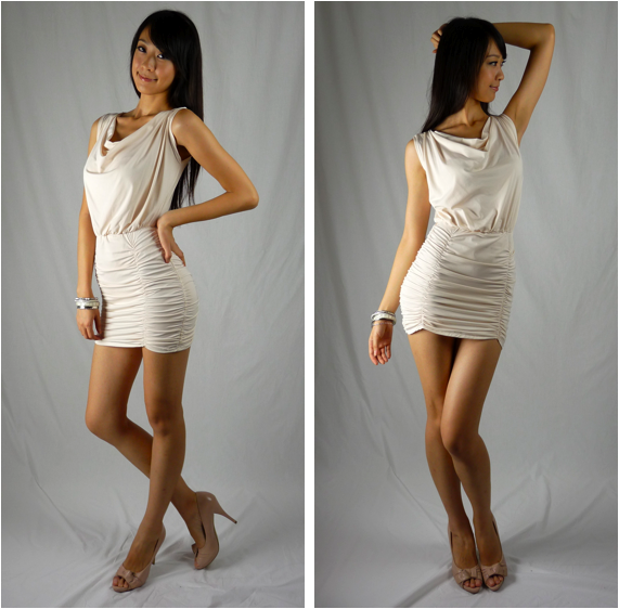 Constance ruched dress with drapes in White - SGD 29