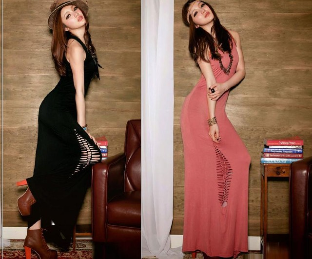 Code: C061 Black, Pink Maxi Dress   - MYR 50