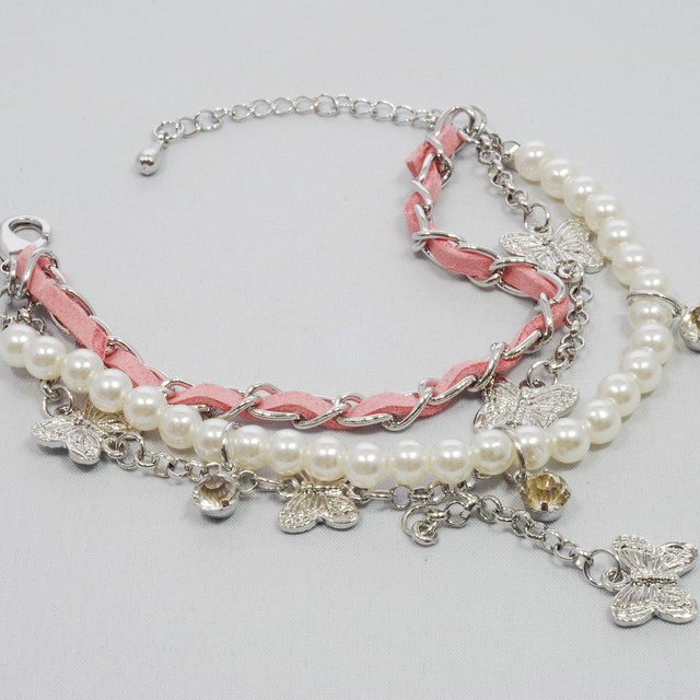 $15.90 - Korean Bracelet- Butterfly and Pearl Design - SGD $15.90